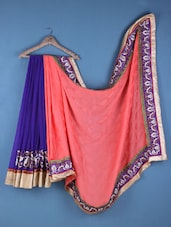 Orange And Purple Georgette Embroidered Saree - Viva N Diva