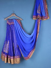 Blue Embroidered Lehenga Saree - Viva N Diva