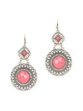 Pink Acrylic Stone Hanging Earring - Onlinemaniya