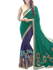 Green And Blue Georgette Embroidered  Saree - By