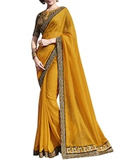 Yellow Satin Bordered  Saree - By