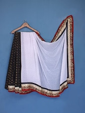 Black And White Net Saree - FABIONA