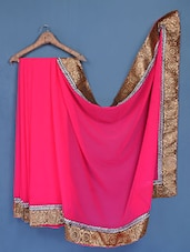 Pink Pure Chiffon Saree - FABIONA