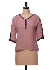 Light Maroon Plain Georgette Top - MOTIF
