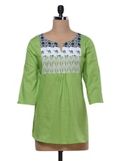 Green Printed Gathers Cotton Top - MOTIF