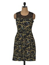 Black Yellow Abstract Printed Poly Crepe Dress - MOTIF