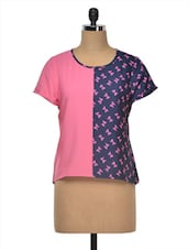 Pink & Blue Butterfly Printed Poly Crepe Top - MOTIF