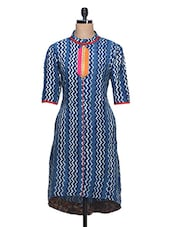 Blue Chevron Print Cotton Kurta - Aana