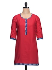 Round Neck Solid Red Cotton Kurti With Contrasting Printed Border - Taaga