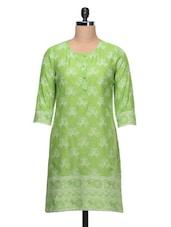 Printed Round Neck Green Cotton Kurti - Taaga