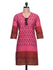 Paisley Printed Pink Cotton Kurti - Taaga