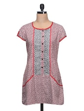 Round Neck Short Sleeve Printed Cotton Kurti - Taaga