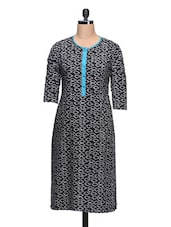 Geometric Print Round Neck Black Cotton Kurta - Taaga
