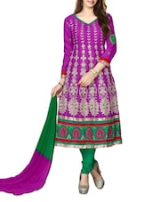 Embroidered Purple Anarkali Cotton Suit Set - Khushali