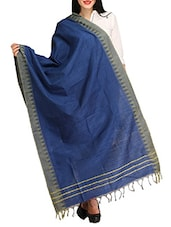 Blue Viscose Plain  Dupatta - By