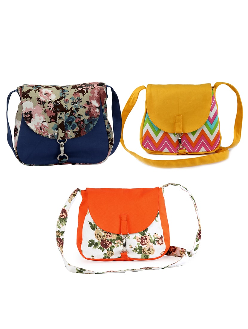 Set of 3 multicolored printed canvas sling bag tn10