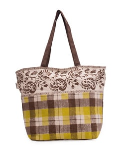 Green And Brown Checks Print Handbag - Pick Pocket