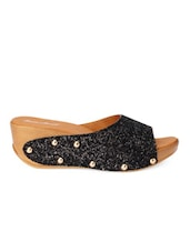 Shimmery Black Open-Toed Platform Mules -  online shopping for wedges