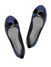 Adorable Navy Blue Suede Ballerina Flats - Bruno Manetti