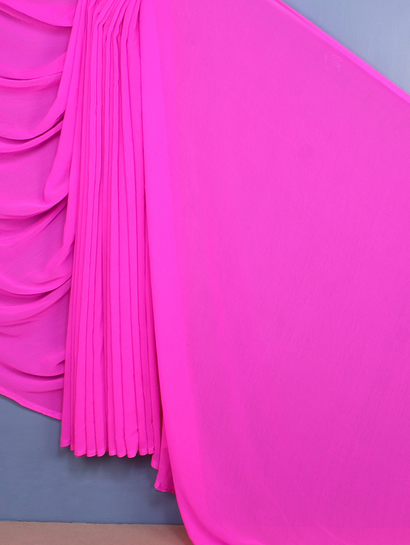 Pink Plain Chiffon Saree - Fabdeal