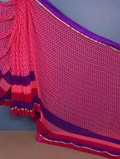 Pink & Purple Georgette Saree - Fabdeal