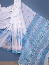 White & Blue Floral Print Cotton Saree - Fabdeal