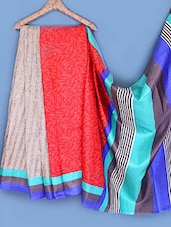 Multicolored Printed Bhagalpuri Silk Saree - Fabdeal