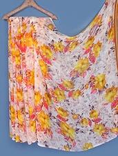 Floral Print Light Weight Chiffon Saree - Fabdeal