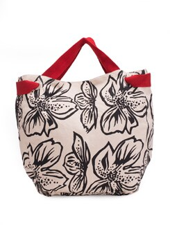 Black And White Bold Floral Motif Handbag - Pick Pocket