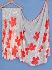 Beige Floral Printed Striped Chiffon Saree - Fabdeal