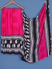 Pink & Black Printed Crepe Saree - Fabdeal
