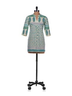 Wide Yoke Kurta In Pista Green - Cotton Curio
