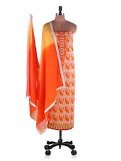 Orange Cotton Paisley Print Suit Set - Inddus