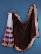 White And Brown Half And Half Saree - Saraswati