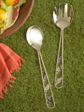 Stylist Leaf Pattern Salad Server Set - Sage Koncpt