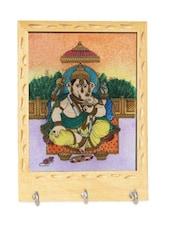 Wooden Ganesh Design Key Holder - Handicrafts Paradise