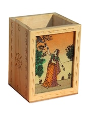 Wooden Ragini With Peacock Design Pen Holder - Handicrafts Paradise