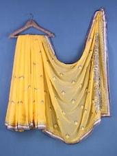 Yellow Chiffon Zari Embroidered Saree - Suchi Fashion