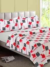 White & Red Hibiscus Printed Cotton Double Bedsheet - Desi Connection