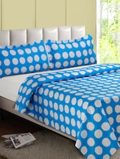 Blue & White Over All Circle Cotton Double Bedsheet - Desi Connection
