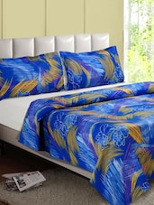 Blue Printed Cotton Double Bedsheet - Desi Connection