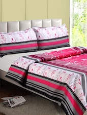 Pink & Multicolor Floral- Stripe Cotton Double Bedsheet - Desi Connection