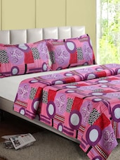 Multicolor Floral-Geometric Print Cotton Double Bedsheet - Desi Connection
