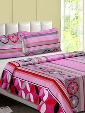 Pink & Multicolor Printed Cotton Double Bedsheet - Desi Connection