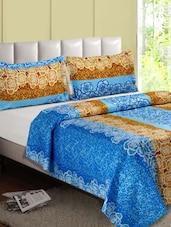Blue & Brown Rose Flower Cotton Double Bedsheet - Desi Connection