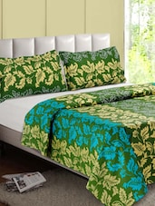 Green -Multicolor Leaf Printed Cotton Double Bedsheet - Desi Connection
