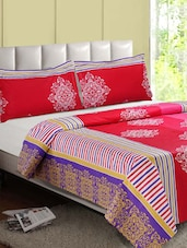 Red-Multicolor Printed Cotton Double Bedsheet - Desi Connection