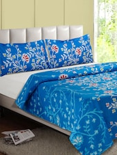 Blue Floral Cotton Double Bedsheet - Desi Connection