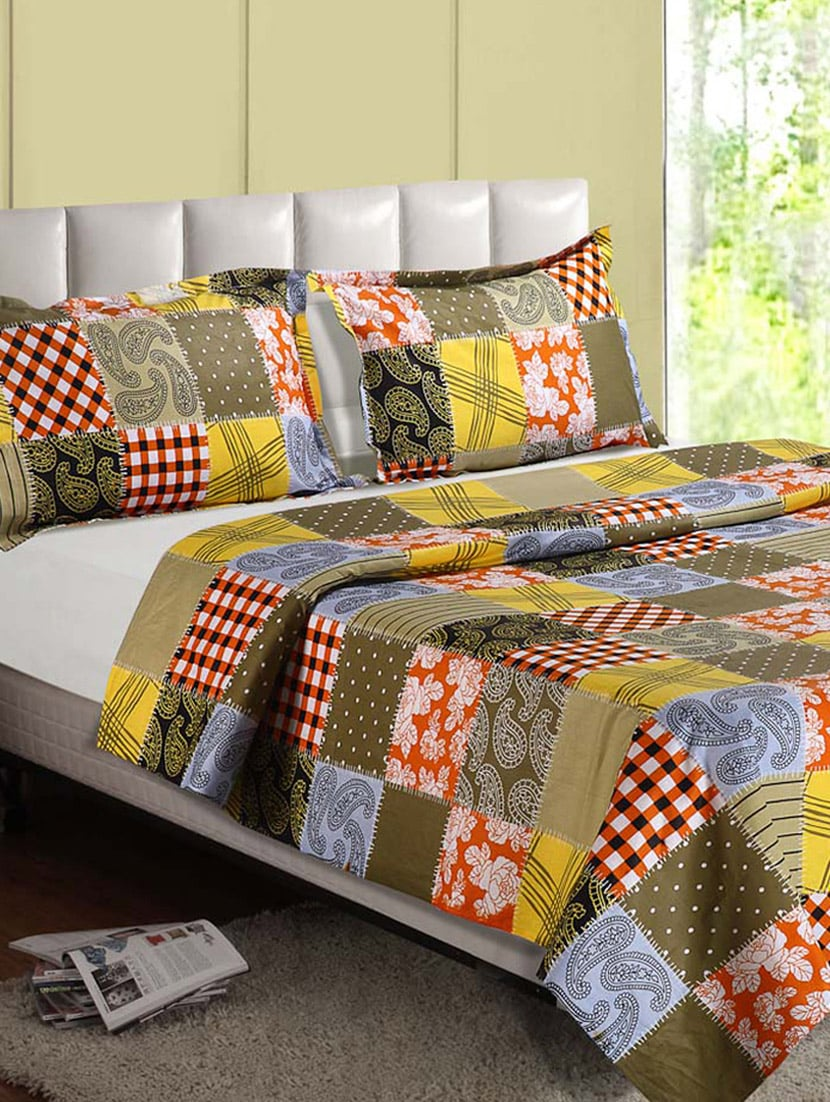 Multicolor Printed Cotton Everyday Double Bedsheet - Desi Connection