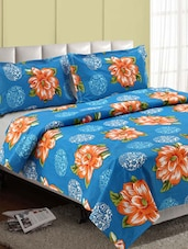 Blue-multicolor Big Floral Cotton Double Bedsheet - Desi Connection